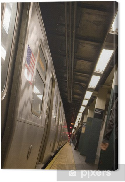 Canvastavla Sidan av en New York tunnelbanan medan inte är i rörelse. - Teman