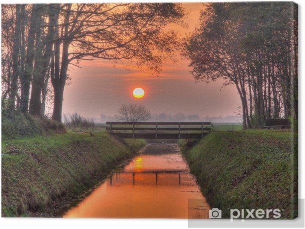 Canvastavla Solnedgång över bron - Europeiska städer