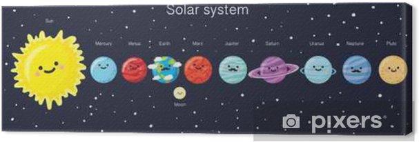 Canvastavla Solsystemet med söta leende planeter, solen och månen. - Vetenskap