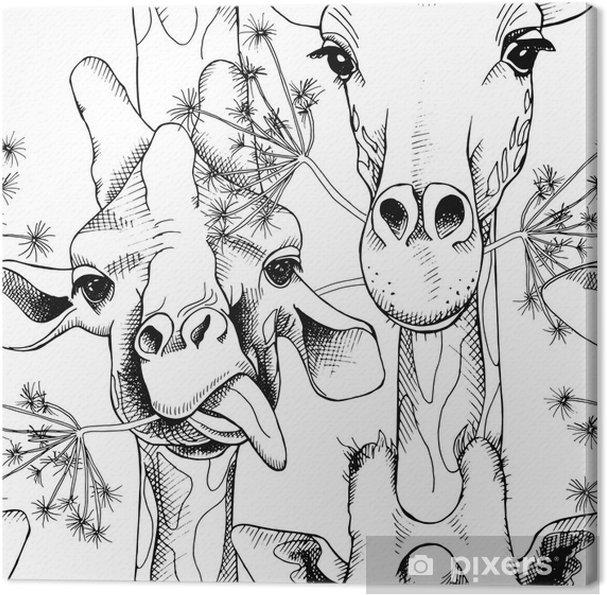 92541da49c87 Canvastavla Sömlöst mönster med bilden av giraffer munching gräs. vektor  svart och vit illustration.