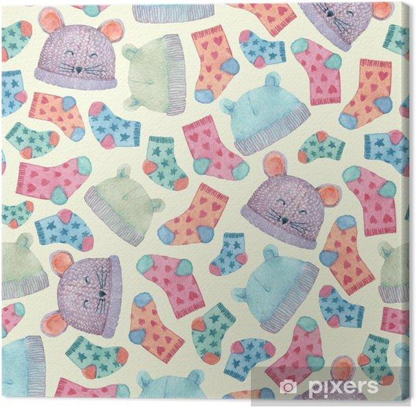 ce467bf803d2 Canvastavla Sömlöst mönster med färgglada hattar och strumpor. barnkläder  illustrerade i akvarell. - Grafiska