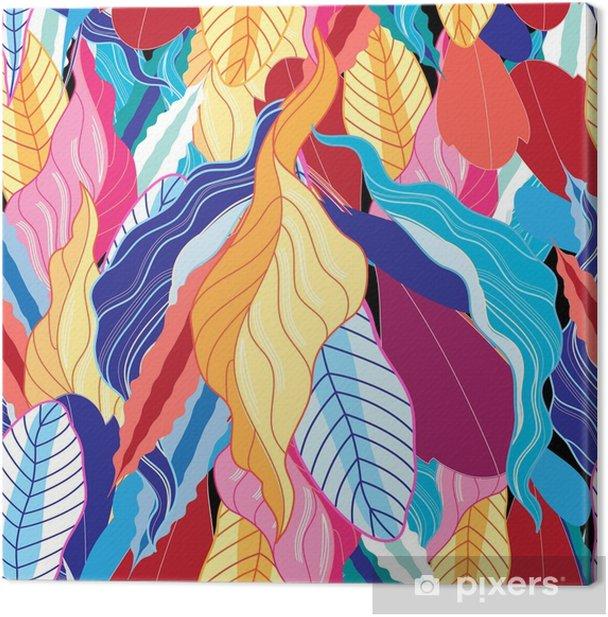 Canvastavla Sömlöst mönster med löv. - Växter & blommor