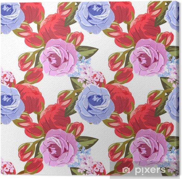 cbe5725dc7a8 Canvastavla Sömlöst mönster med vackra rosor. handritad blommig bakgrund  för tryckning på tyg, kläder, hemtextil, tapeter, presentförpackning.  romantisk ...
