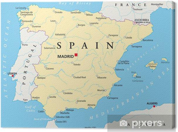 Karta Pa Spansk.Canvastavla Spanien Karta Pixers Vi Lever For Forandring