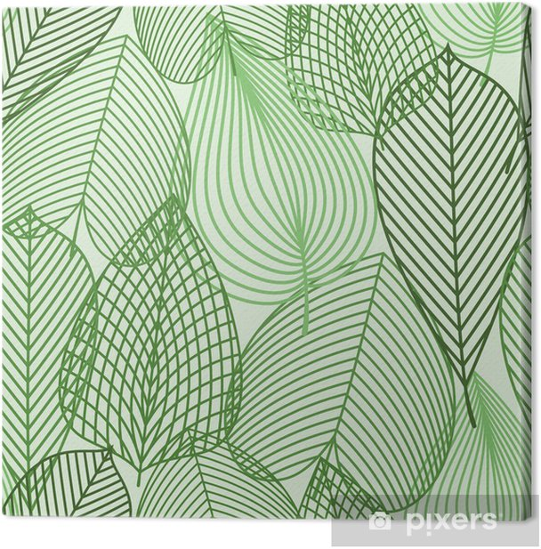 Canvastavla Spring gröna blad seamless -