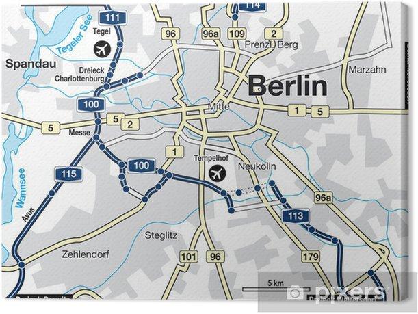 Canvastavla Stad Karta Over Berlin Tyskland Pixers Vi Lever