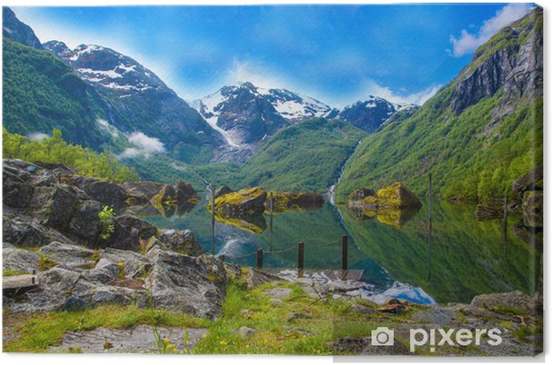 Canvastavla Stor Mystical Bondhusvatnet sjö, Norge - Teman