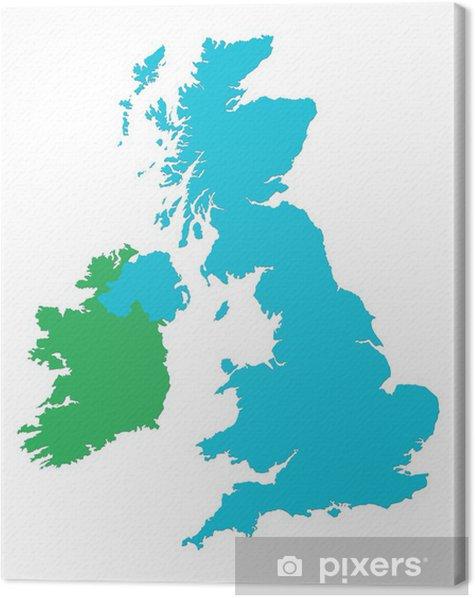 Canvastavla Storbritannien Och Irland Karta Pixers Vi Lever
