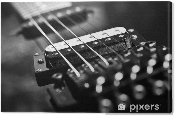 Canvastavla Strängar elgitarr närbild i svarta toner - Jazz