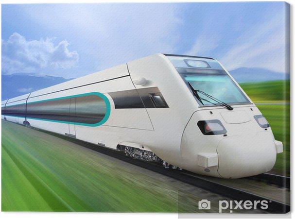 Canvastavla Super strömlinjeformade tåg på järnväg - Teman