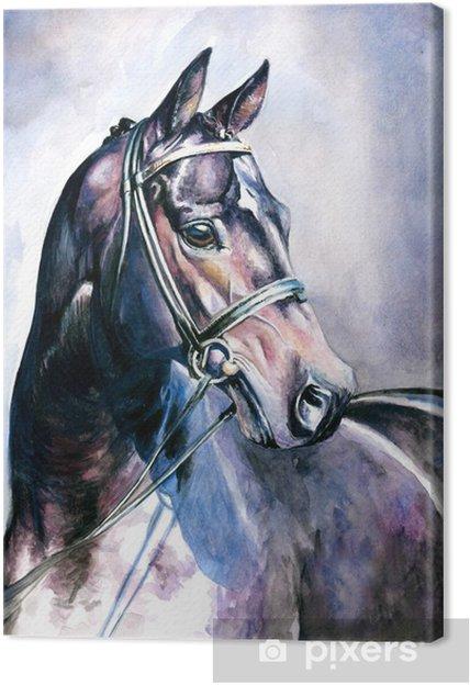 Canvastavla Svart häst akvarell målad. - Stilar