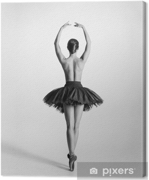 Canvastavla Svart och vitt spår av en topless balettdansös - Underkläder