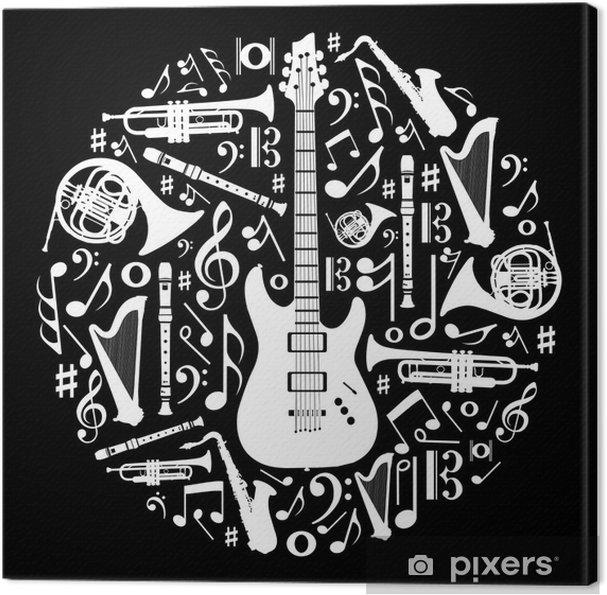 Canvastavla Svartvitt kärlek till musik koncept illustration bakgrund - Stilar