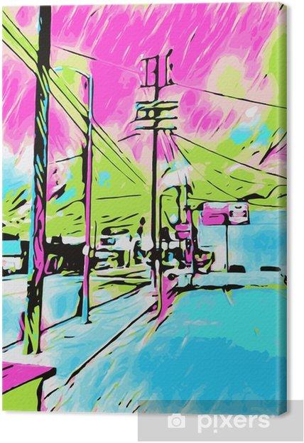 Canvastavla Teckning och målning blå stad med rosa och grön himmel - Byggnader och arkitektur