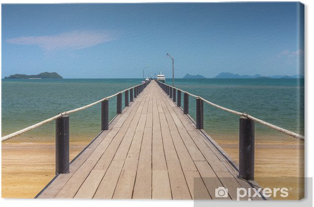 Canvastavla Träbro på en vacker strand på soliga dag - Infrastruktur