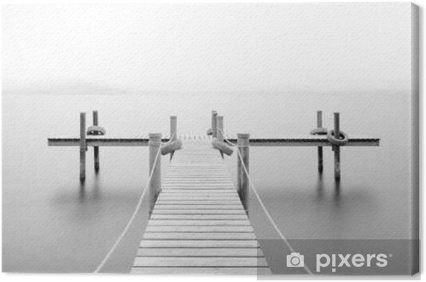 Canvastavla Träbrygga på sjön  Dimma  Lång exponering  Svartvitt
