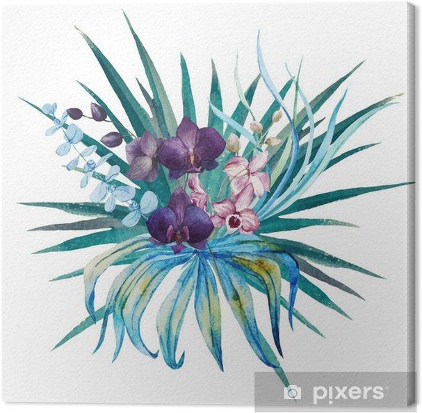 Canvastavla Tropiska blommor sammansättning - Växter & blommor