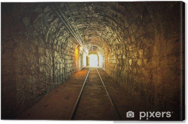 Canvastavla Underjordsgruva passage med skenor - Teman