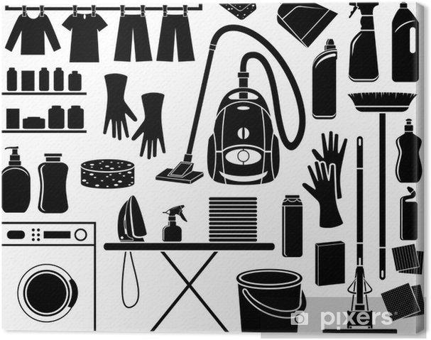 Canvastavla Uppsättning av ikon rengöring - Hem och trädgård