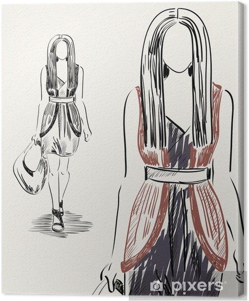 e3d163f2c020 Canvastavla Vacker flicka i moderiktiga kläder. Handritade illustration. -  Mode