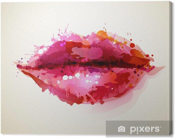 Canvastavla Vacker kvinnas läppar bildade av abstrakta blöts -