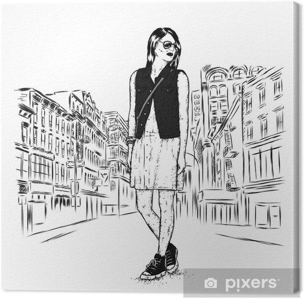 4c8e1137e8b7 Canvastavla Vacker tjej i en snygg klänning, denim väst och sneakers.  vektor illustration för ett vykort eller en affisch, skriv ut för kläder.  mode.