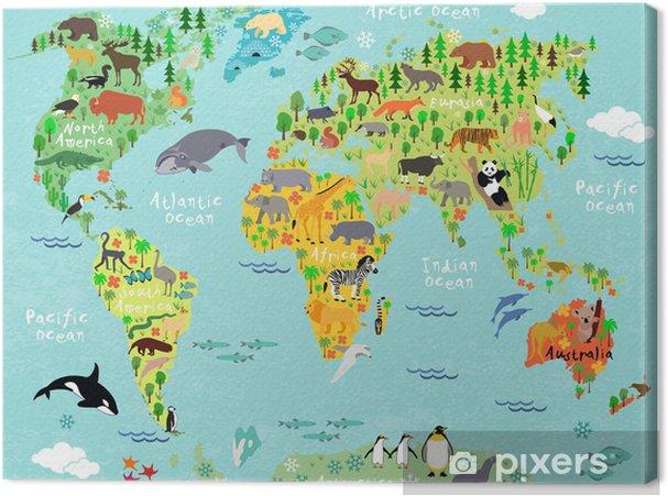 Canvastavla Världskartan - Under havet
