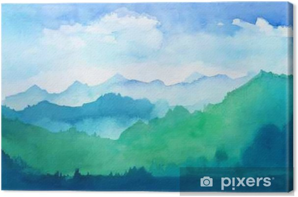Canvastavla Vattenfärg berg - Miljö