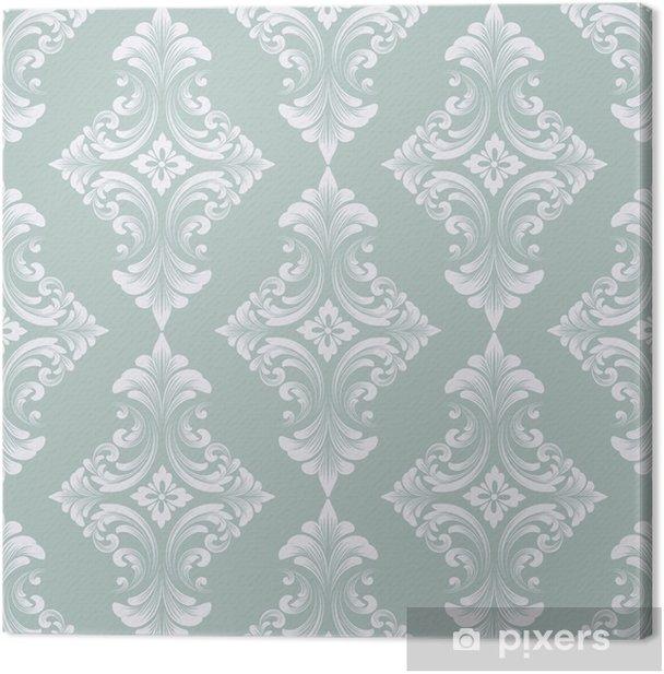 Canvastavla Vektor damast sömlösa mönster bakgrund. klassisk lyx gammaldags damask prydnad, royal victorian sömlös textur för tapeter, textil, inslagning. utsökt blommig barockmall - Grafiska resurser