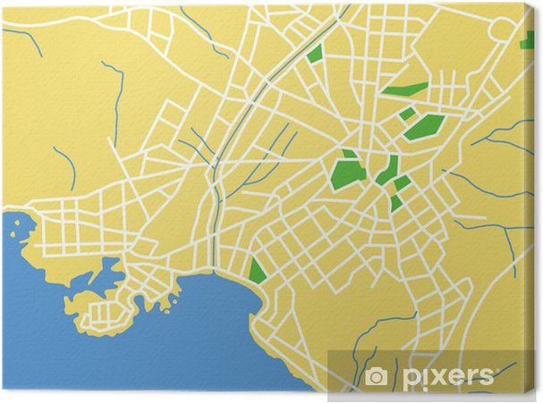 Karta Aten.Canvastavla Vektor Karta Over Aten Pixers Vi Lever For Forandring