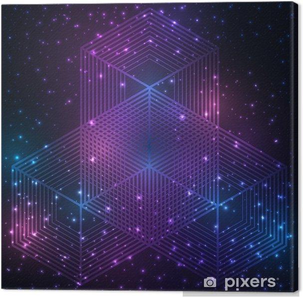 Canvastavla Vetenskap och matematik abstrakt bakgrund med cirklar, kub, trianglar och en hel del linjer. Sakral geometri bakgrund. Kemin och astrologi. Grafiska element för identitetsdesign. - Grafiska resurser