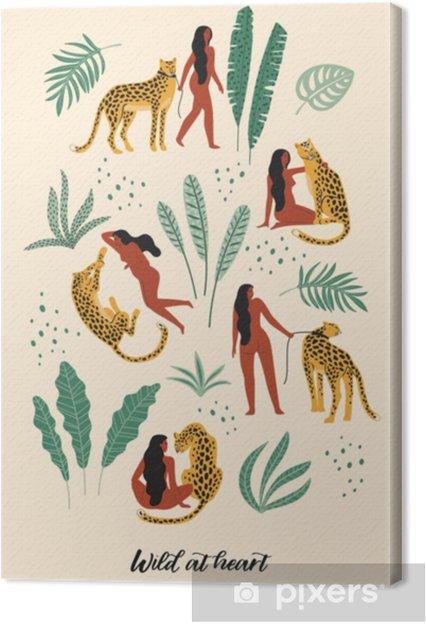 Canvastavla Vild i hjärtat. vektor illustrationer av kvinna med leopard och tropiska löv. - Djur