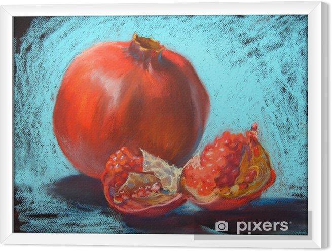 Çerçeveli Tuval Garnet pastel boyama illüstrasyon, turkuaz mavi arka plan - Yiyecek