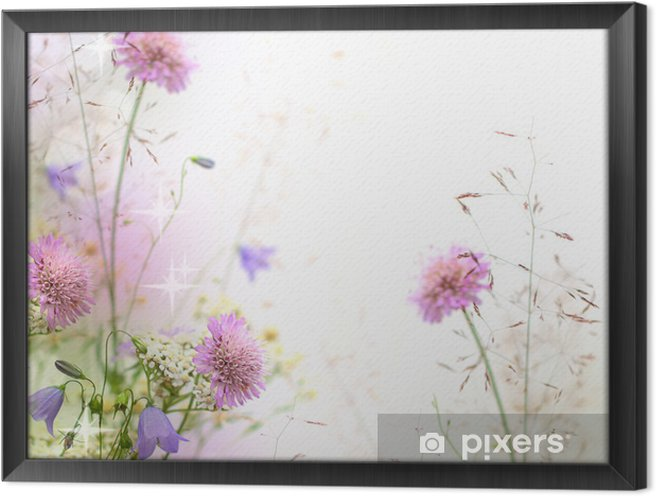 Çerçeveli Tuval Güzel pastel çiçek sınır - bulanık arka plan -