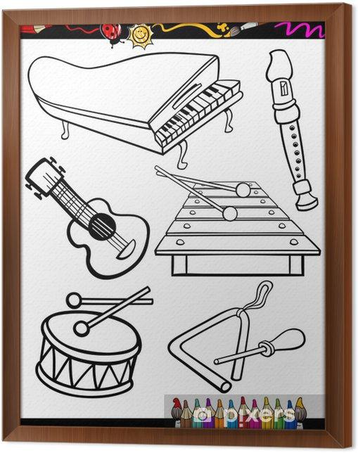 Karikatur Muzik Aletleri Boyama Cerceveli Tuval Pixers Haydi