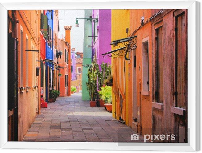 Çerçeveli Tuval Venedik, İtalya yakınlarındaki Burano, renkli sokak -