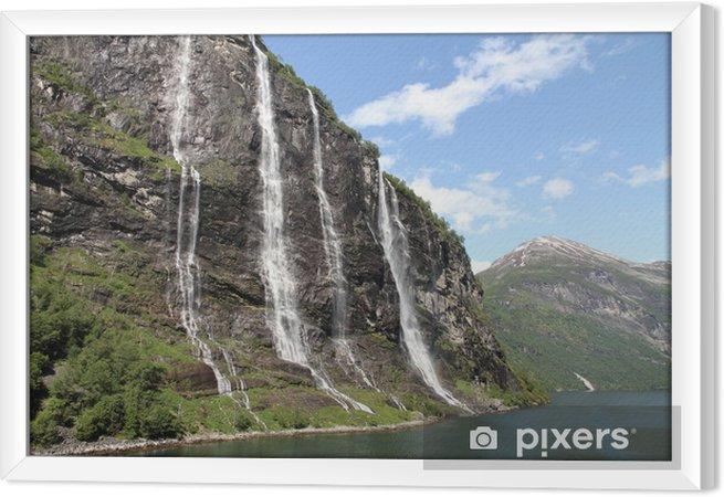 Çerçeveli Tuval Yedi kız şelale, Geiranger Fjord, Hellesylt Norveç -