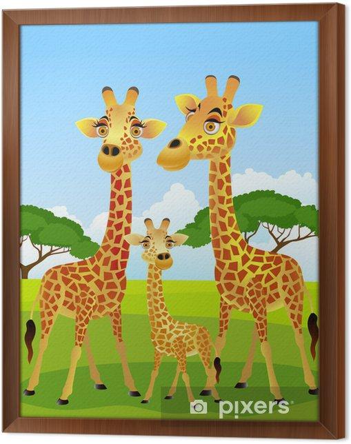 Çerçeveli Tuval Zürafa aile karikatür - Öğrenci