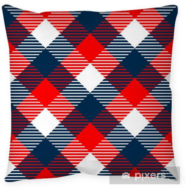 Cojín decorativo A cuadros de tela de algodón barato sin patrón en el azul rojo blanco - Fondos