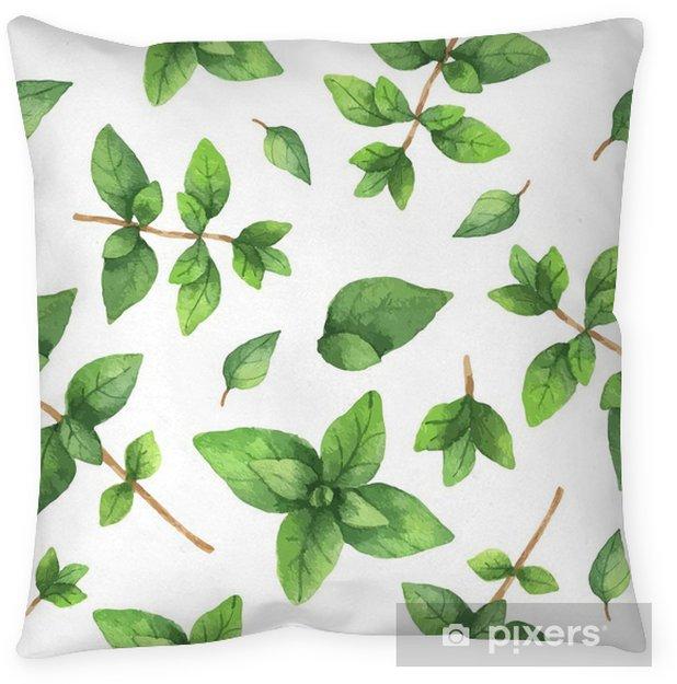 Cojín decorativo Acuarela del vector sin fisuras patrón dibujado a mano hierba del orégano. - Comida