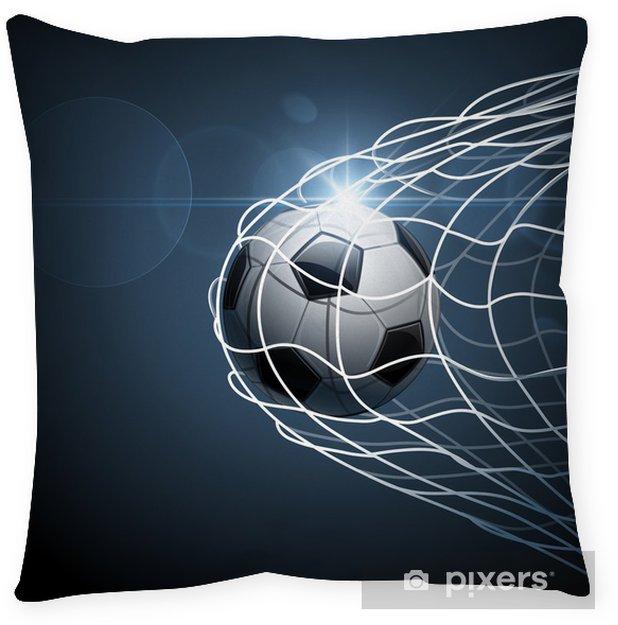 Cojín decorativo Balón de fútbol en meta. Vector -