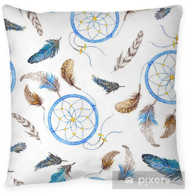 Cojín decorativo Boho Pattern with Feathers and Dreamcatcher - Artes y creación