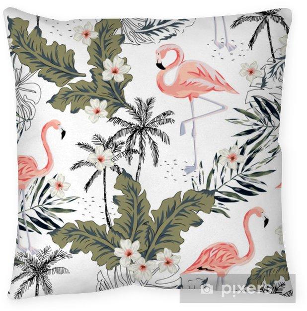 Cojín decorativo Flamencos rosados tropicales, pájaros del plumeria, hojas de palma, árboles fondo blanco. vector sin patrón ilustración gráfica. Plantas exóticas de la selva. Diseño floral de playa de verano. naturaleza paradisiaca - Animales