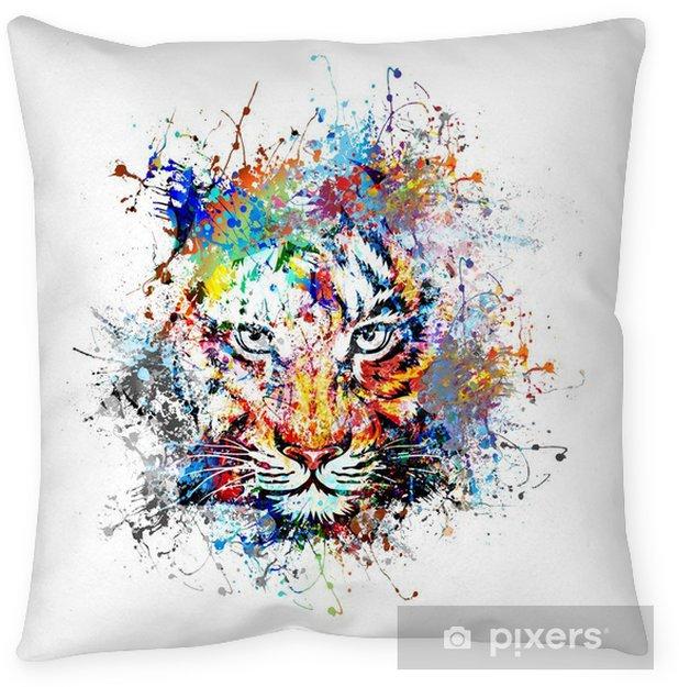 Cojín decorativo Fondo brillante con el tigre - la ciencia y la naturaleza
