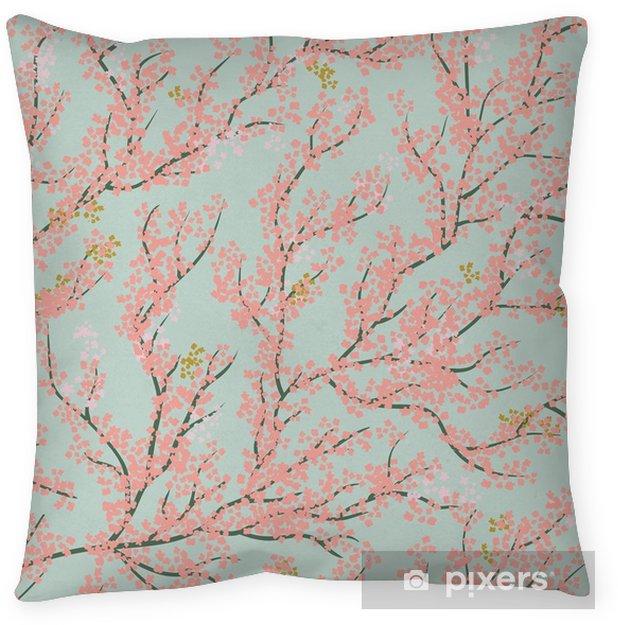 Cojín decorativo Fondo de patrones sin fisuras con el árbol de sakura. hermoso fondo japonés con flor de sakura rosa sobre un fondo azul- ilustración de cerezo tree.vector japonés - Plantas y flores