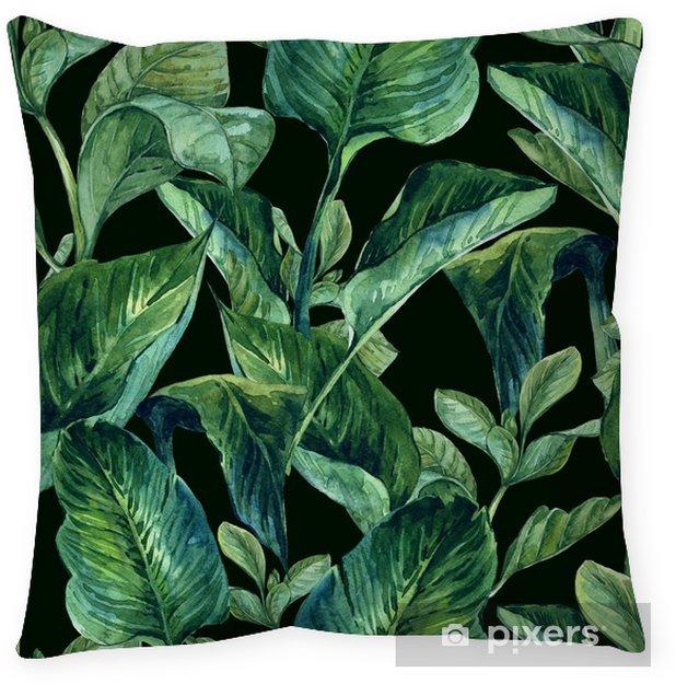 Cojín decorativo Fondo inconsútil de la acuarela con hojas tropicales - Flores y plantas