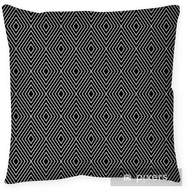 Cojín decorativo Geométrico abstracto diamante patrón transparente en blanco y negro - Fondos