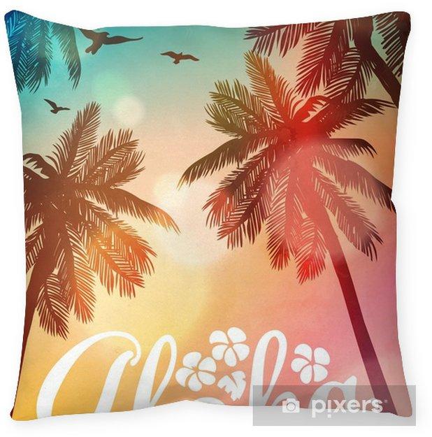 Cojín Decorativo Ilustración De Playa De Verano Aloha Tarjeta De Inspiración Para La Boda Fecha Cumpleaños Invitación De La Fiesta Tropical