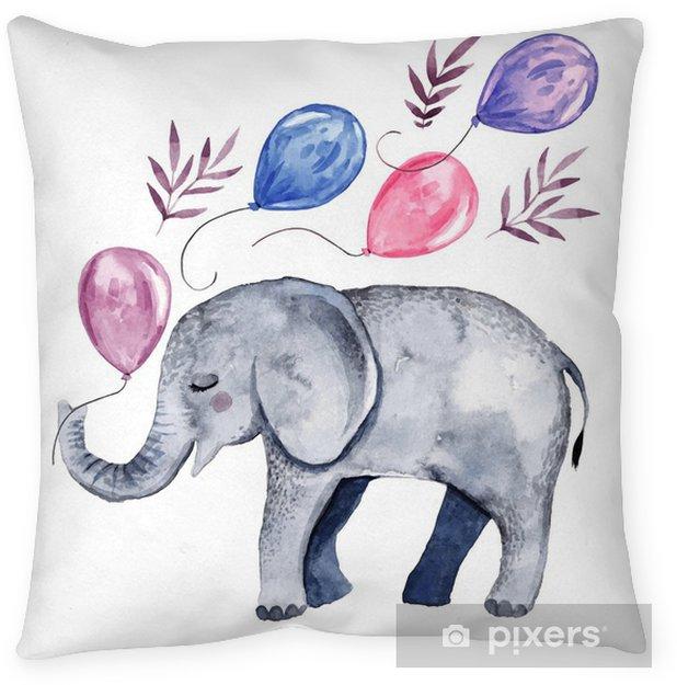 Cojín decorativo Linda ilustración con bebé elefante y globos - Recursos gráficos