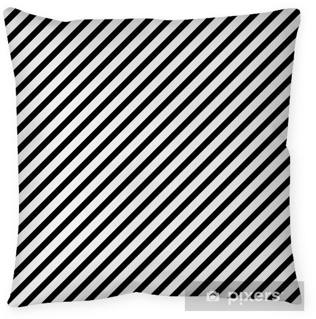 Cojín decorativo Negro y blanco rayado diagonal modelo de la repetición de fondo - Temas
